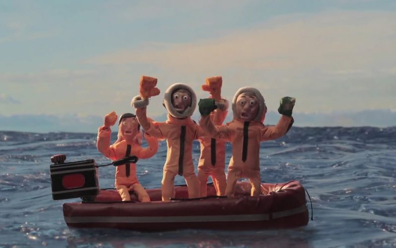 Cartoon of people at sea in a lifeboat looking scared