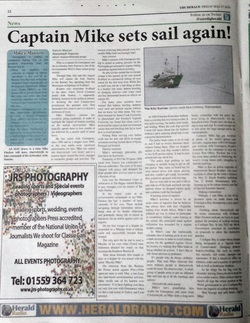 Ceredigion Herald Headline: Captain Mike sets sail again!