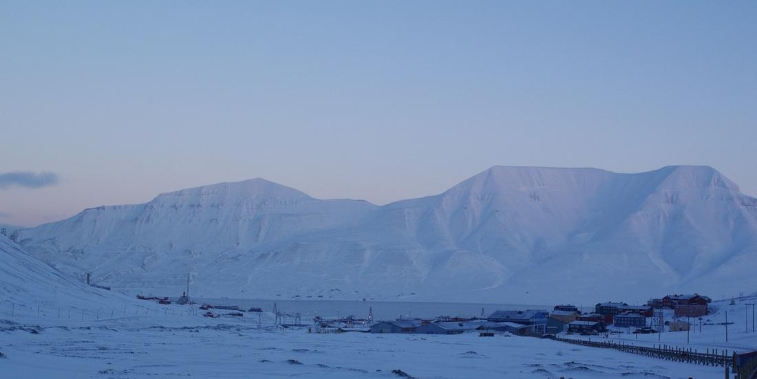 Snowy landscape in twilight
