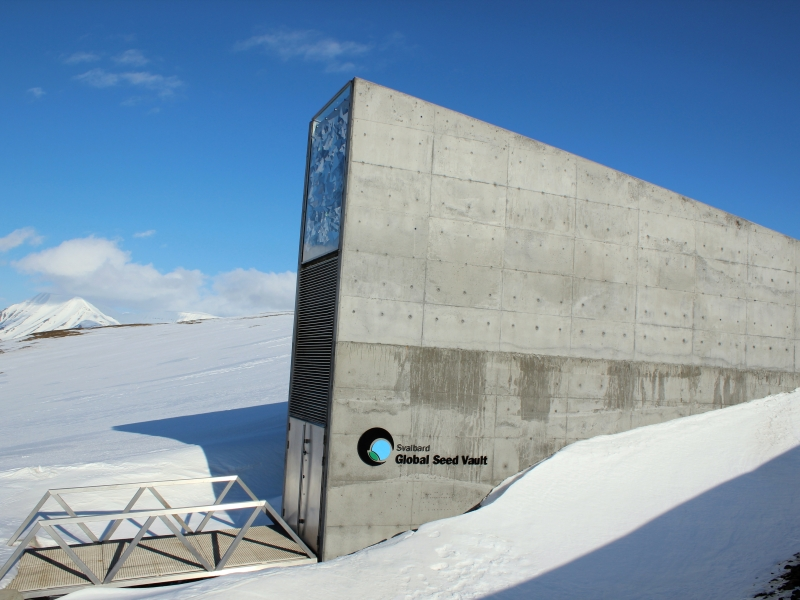 Entrace to the Svalbard Global Seed Vault in the sunshine